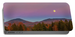 Vermont Fall, Full Moon And Belt Of Venus Portable Battery Charger