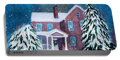 Portable Battery Charger featuring the painting Vermont Studio Center In Winter by Donna Walsh
