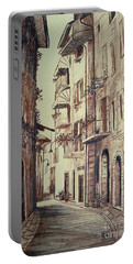 Verona Drawing Of A Narrow Street Portable Battery Charger