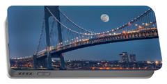 Portable Battery Charger featuring the photograph Verrazano Narrows Bridge Moon by Susan Candelario