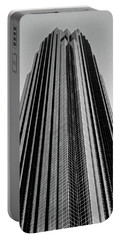 Very Tall Building In Black And White Portable Battery Charger