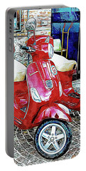 Vespa Twins Red Portable Battery Charger