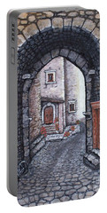 Portable Battery Charger featuring the painting Via In Santo Stefano by Judy Kirouac