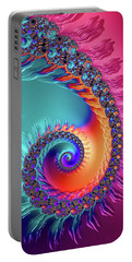 Vibrant And Colorful Fractal Spiral  Portable Battery Charger