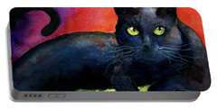 Vibrant Black Cat Watercolor Painting  Portable Battery Charger