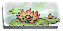 Vibrant Flower 2 Water Lily Portable Battery Charger