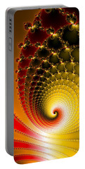 Portable Battery Charger featuring the digital art Vibrant Glossy Fractal Spiral Yellow And Red by Matthias Hauser