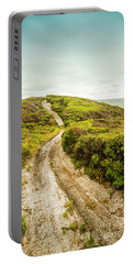 Vibrant Green Hills And Ocean Tracks Portable Battery Charger