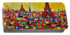 Vibrant Paris Abstract Cityscape Impasto Modern Impressionist Palette Knife Oil Ana Maria Edulescu Portable Battery Charger