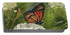 Viceroy Butterfly On Queen Anne's Lace Watercolor Batik Portable Battery Charger