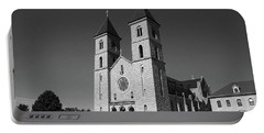 Portable Battery Charger featuring the photograph Victoria, Kansas - Cathedral Of The Plains 6 Bw by Frank Romeo
