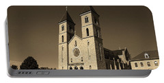 Portable Battery Charger featuring the photograph Victoria, Kansas - Cathedral Of The Plains Sepia 6 by Frank Romeo