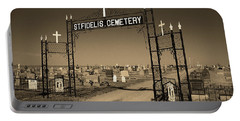 Portable Battery Charger featuring the photograph Victoria, Kansas - St. Fidelis Cemetery Sepia by Frank Romeo
