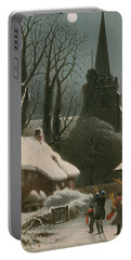 Victorian Christmas Scene With Band Playing In The Snow Portable Battery Charger by John Brandard