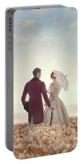 Victorian Couple Standing In A Meadow Portable Battery Charger by Lee Avison