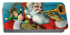 Victorian Illustration Of Santa Claus Holding Toys And Blowing On A Trumpet Portable Battery Charger