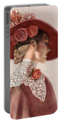 Victorian Lady In A Rose Hat Portable Battery Charger