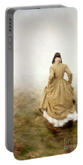 Victorian Woman Running On The Misty Moors Portable Battery Charger