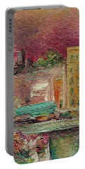 Portable Battery Charger featuring the painting View From A Balcony by Mary Wolf