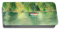 Portable Battery Charger featuring the painting View From Millbay Ferry by Vicki  Housel