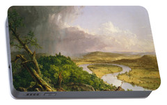 Portable Battery Charger featuring the painting View From Mount Holyoke Northampton Massachusetts After A Thunderstorm. The Oxbow by Thomas Cole