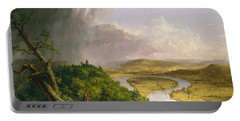 View From Mount Holyoke Northampton Massachusetts After A Thunderstorm. The Oxbow Portable Battery Charger by Thomas Cole