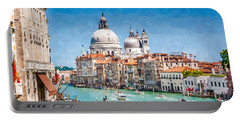 Portable Battery Charger featuring the digital art View Of Canal Grande by Kai Saarto