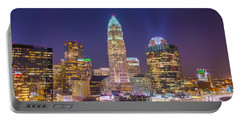 View Of Charlotte Skyline Aerial At Sunset Portable Battery Charger