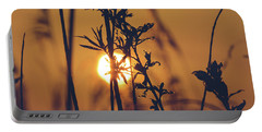 View Of Sun Setting Behind Long Grass D Portable Battery Charger