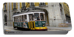 View Of The Famous Yellow Tramway At Lisbon Portugal. Portable Battery Charger