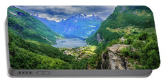 Portable Battery Charger featuring the photograph View On Geiranger From Flydalsjuvet by Dmytro Korol