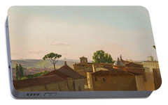Portable Battery Charger featuring the painting View On The Quirinal Hill. Rome by Simon Denis