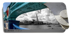 View Through Tower Bridge Portable Battery Charger by Shirley Mitchell