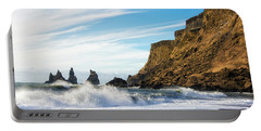 Portable Battery Charger featuring the photograph Vik Reynisdrangar Beach And Ocean Iceland by Matthias Hauser