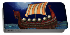 Portable Battery Charger featuring the digital art Viking Ship by Megan Dirsa-DuBois