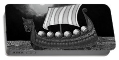 Portable Battery Charger featuring the digital art Viking Ship_bw by Megan Dirsa-DuBois