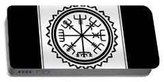 Portable Battery Charger featuring the digital art Viking Vegvisir Protection Compass by Vagabond Folk Art - Virginia Vivier