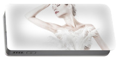 Viktory In White - Feathered Portable Battery Charger