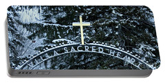 Portable Battery Charger featuring the photograph Villa Sacred Heart Winter Retreat Golden Cross by John Stephens