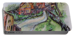 Portable Battery Charger featuring the painting Village Back Street by Clyde J Kell