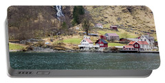 Portable Battery Charger featuring the photograph Village On A Fjord by Suzanne Luft