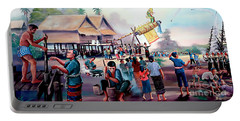 Village Rocket Festival-vintage Painting Portable Battery Charger by Ian Gledhill