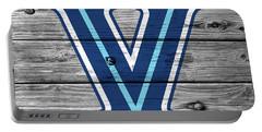 Villanova University Logo On Weathered Wood Portable Battery Charger