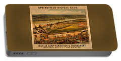 Portable Battery Charger featuring the photograph Vintage 1883 Springfield Bicycle Club Poster by John Stephens