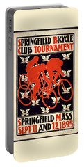 Portable Battery Charger featuring the photograph Vintage 1895 Springfield Bicycle Club Poster by John Stephens