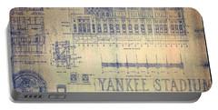 Vintage 1920s Art Deco Yankee Stadium Blueprint Portable Battery Charger