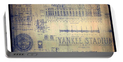 Portable Battery Charger featuring the drawing Vintage 1920s Art Deco Yankee Stadium Blueprint Autographed By Joe Dimaggio by Peter Gumaer Ogden