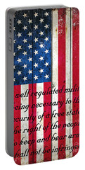 Vintage American Flag And 2nd Amendment On Old Wood Planks Portable Battery Charger