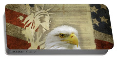 Vintage Americana Patriotic Flag Statue Of Liberty And Bald Eagle Portable Battery Charger