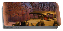 Vintage Auto In Winter Portable Battery Charger